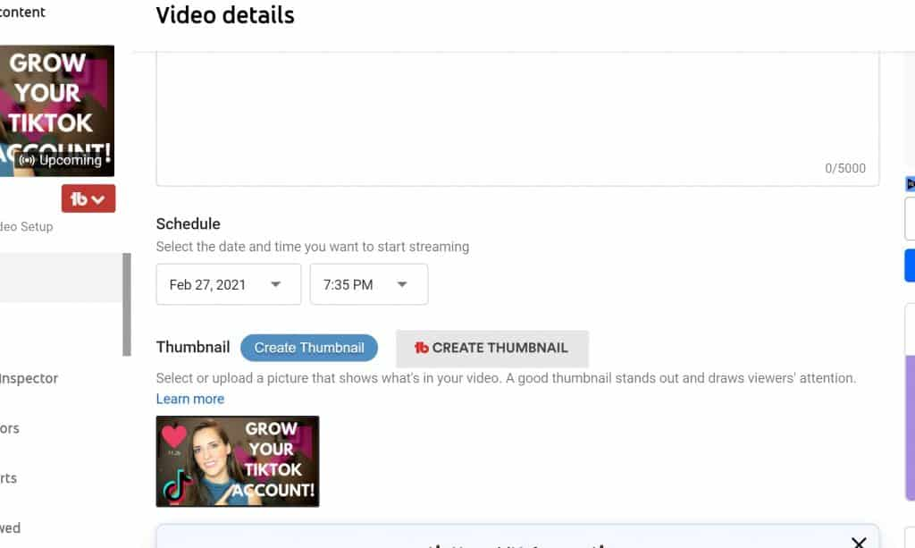 How to specifically upload a new youtube livestream thumbnail