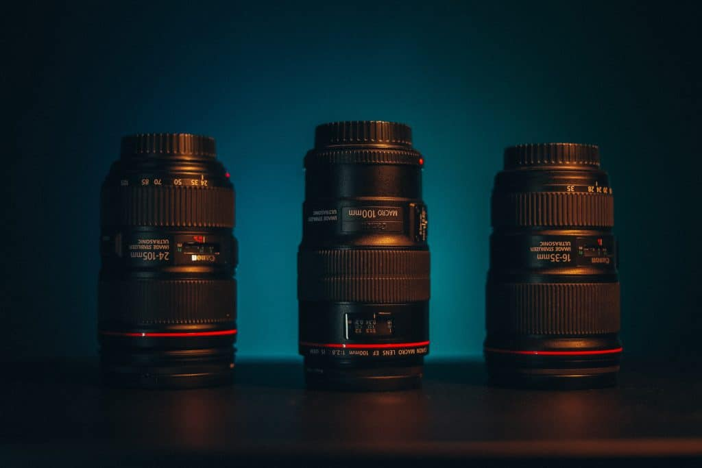 Three lenses stacked next to each other.
