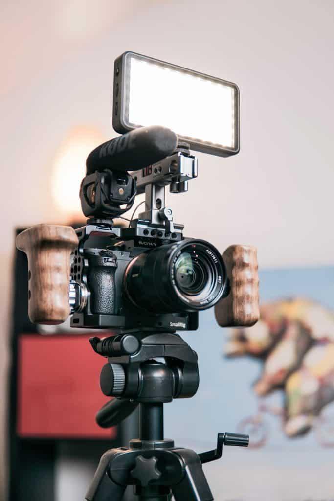 A YouTube video equipment setup.