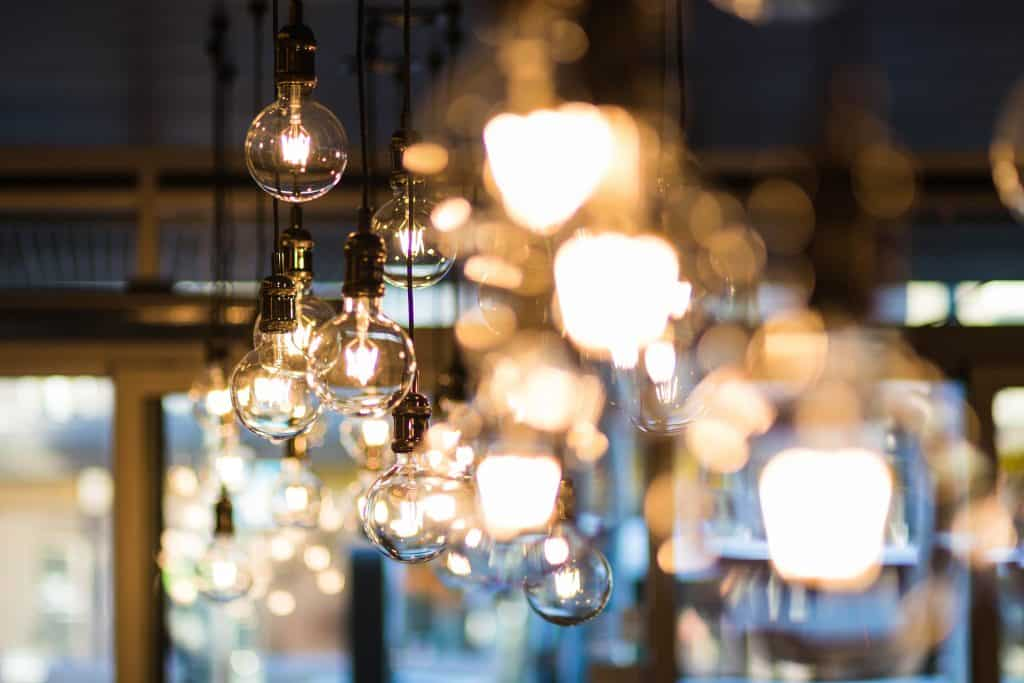Lights hanging from the ceiling