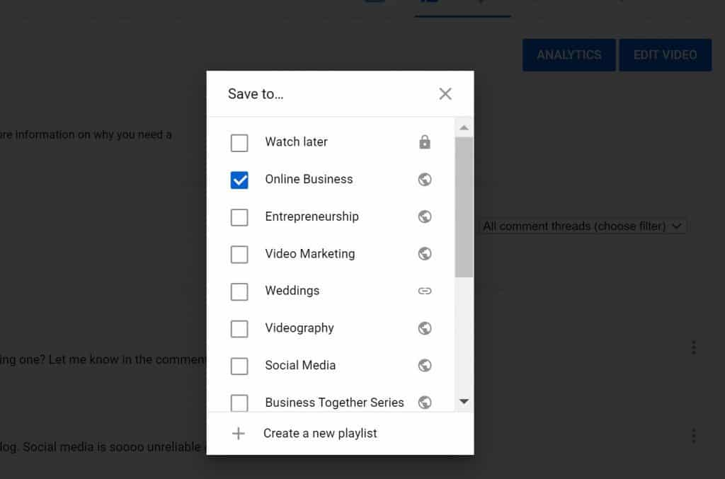 Picture tutorial on how to create a playlist on YouTube.